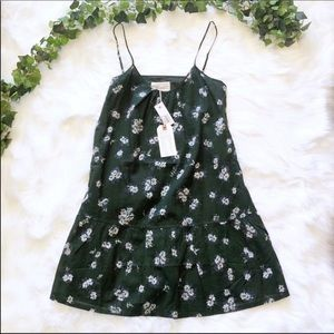 NWT Current Elliot Green Floral Strappy Cami Dress